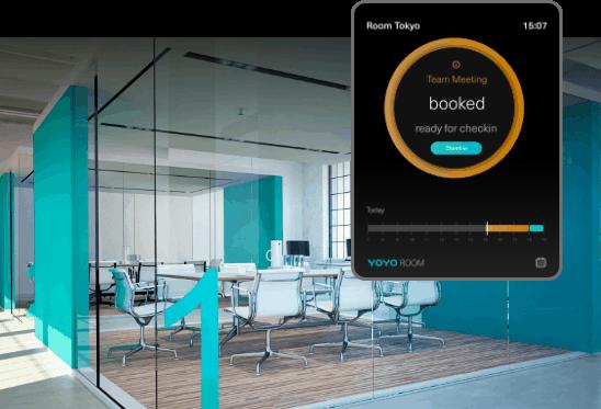 Yoyo Room App mit Büro im Hintergrund