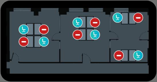 Lageplan der Yoyo App auf einem Smartphone - Workplace Management - YOYO
